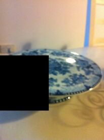Blue and white patterned cake stand