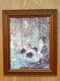 Solid Oak Framed Print of Girls Picking Snowdrops in the Wood