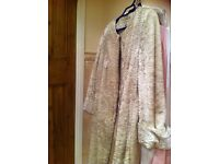 Karen Millen cream fake fur three quarter length coat size 10