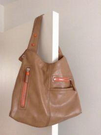 Nine West tan & orange patent ladies over the shoulder bag