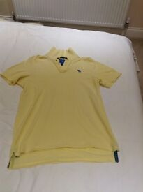 Men's Yellow Abercrombie & Fitch Polo T-Shirt-Size Large