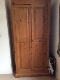 Solid country pine two door wardrobe with one eye level shelf an hanging rail Vgc.