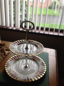 Old country rose cake stand