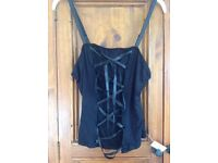Black corset look top with tags