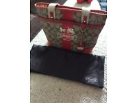 Genuine Coach Handbag Red and Beige Design with Dust Bag