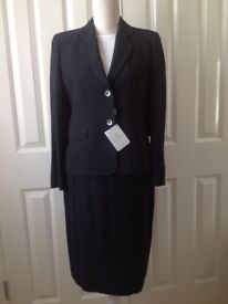 LADIES NEW M&S PETITE DARK NAVY FINE SPOT WORK BUSINESS JACKET SKIRT SUIT LUXURY ITALIAN FABRIC