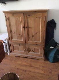 Antique pine TV cabinet