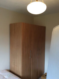 Wardrobe – light wood effect three-door contemporary style, free-standing