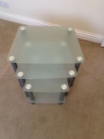 Nest of 3 glass metal tables