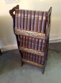 CLASSIC HARD BACK BOOK COLLECTION ON MAHOGANY STAND