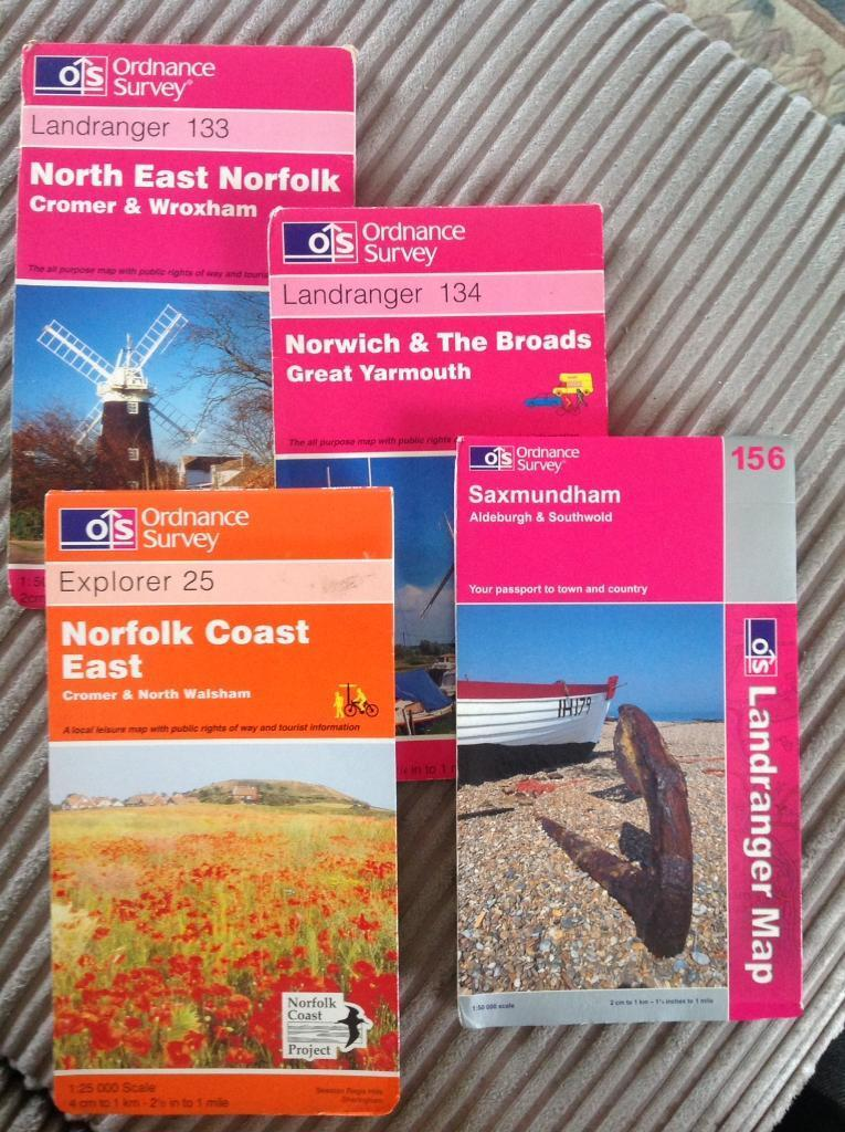 OS Maps of Norfolk Coast; 1:50k Shts 133, 134 & 156 and 1:25k Sht 25.