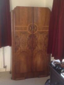 1920's Art Deco Wooden Vaneer Wardrobe With Hanging Rail & Shelves 159cm x 89cm x 44cm