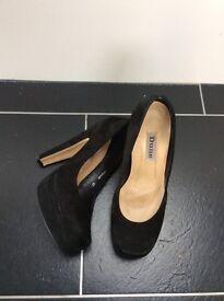 Dune black suede heels, size 4
