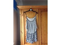 Miss selfridge blue, whit and back design playsuit. Size 8