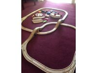 Wooden train track & trains, trucks & vehicles in nice condition