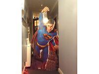 Superman cardboard Cutout -approx 6 foot tall Standee (folds up)