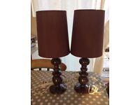 NEXT plum bedside table lamps