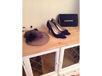 Wedding accessory set. Fascinator, shoes and bag
