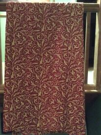 Red & Gold lined pair of curtains with a valance to fit bay windows