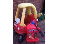 Little tikes cozy coupe and petrol pump