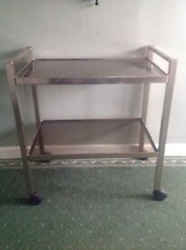 Two tier anodised metal hostess trolley with glass shelves