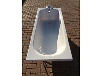 Grohe brand chrome mixer bath tap and acrylic bath with side and end panels,unused , mint condition.