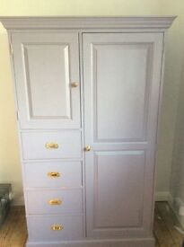 Wardrobe solid wood currently painted but can be re painted