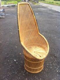 1980s flashback, lovely high back wicker chair