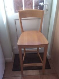 John Lewis Breakfast Bar Chair In Beech Wood-Perfect Condition