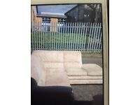 Corner sofa /2seater/ chair ..lovely cream faux suede suite