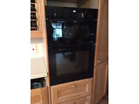 Integrated double oven NEFF with grill. All electric, fully working. Black gloss. Delivery available