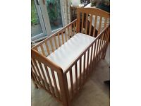 Drop Sided Babies Cot Solid Pine in Excellent Condition