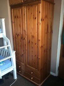 X2 Matching Pine Wardrobes in good condition, Solid built