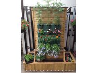 Handmade Mobile Garden Planter Complete with Mini Secure Shed and Flowers/Plants