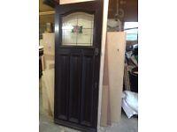 Hardwood front door with double glazed lead light panel