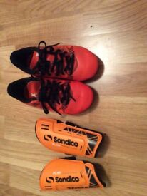 Size 10 ADIDAS football boots and shin pads