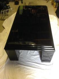 Black piano lacquer Art Deco style heavy coffee table