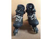 Inline skates (size 4), & protective wrist, elbow & knee pads (medium)