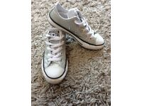 Kids sparkly silver converse size 13