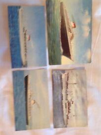 4 Postcards of vintage steamships.