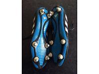 Addidas Goletto soft ground football boots - size 9 (mens) - screw studs - black & blue