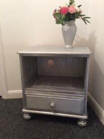 Silver glitter solid pine tv cabinet with drawer