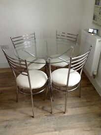 Round Glass & Metal Dining Table with 4 Chairs