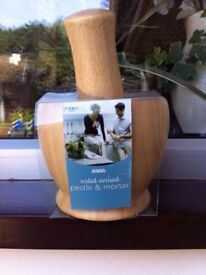 Solid wooden pestle and mortar new