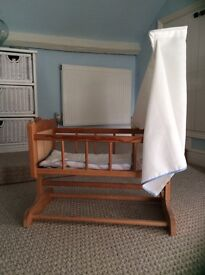 Dolls wooden rocking cradle with canopy