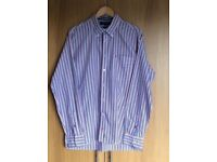 Tommy Hilfiger Mens Button Collar Shirt. Blue,White & Red Stripe. Size Large Excellent Condition