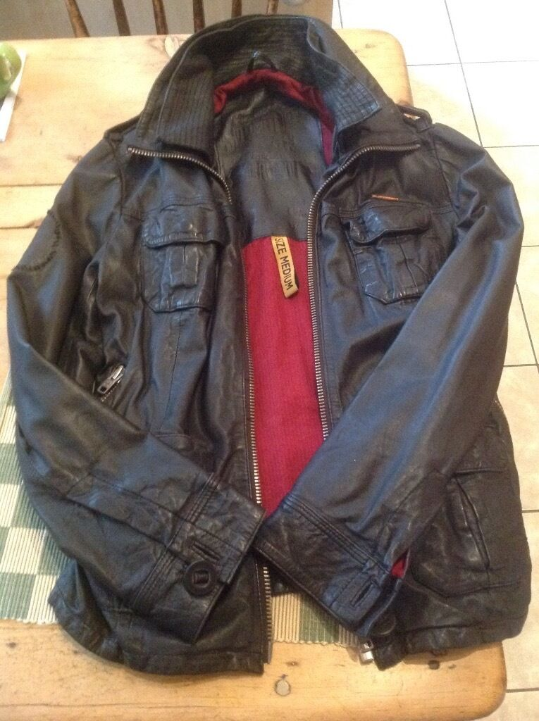 Unisex Superdry Leather Brad Jacketin GloucestershireGumtree - Superdry black leather Brad Jacket with red lining, size medium, in fantastic condition, all zips working, hardly worn