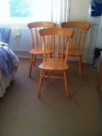 3 Wooden Farmhouse Kitchen / Dining Chairs plus Cushions ....