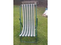 Green & White striped Deckchair