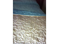 BEDSPREAD - excellent condition. Reversible - cream and aqua.